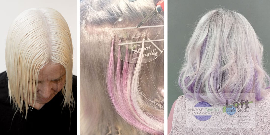 Pink Great Lengths Hair Extensions for Silver Hair